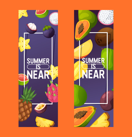 Fruits vector pattern fruity apple banana and exotic papaya background fresh slices of tropical dragonfruit juicy orange illustration fruitful backdrop set wallpaper Standard-Bild - 121627804
