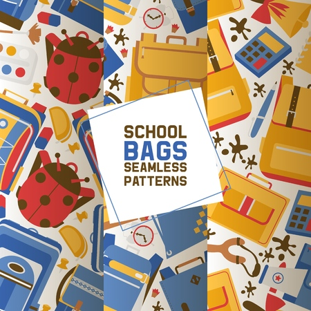 School vector seamless pattern kids education schooling supplies accessory schoolchilds backpack bag backdrop childish educational stationery for studying in classroom illustration set of background. Vectores