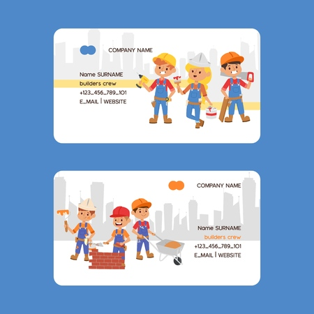 Builder business card vector constructor people character building construction business-card design illustration backdrop of worker contractor kid buildup constructively background.