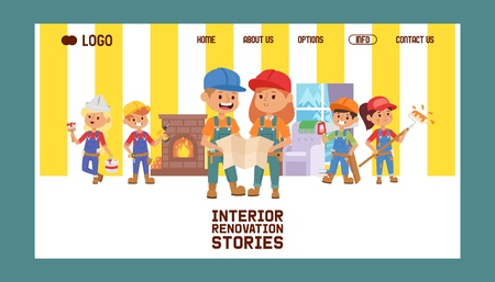 Builder vector web page constructor children character building construction design illustration backdrop of worker contractor kid buildup constructively background landing web-page.
