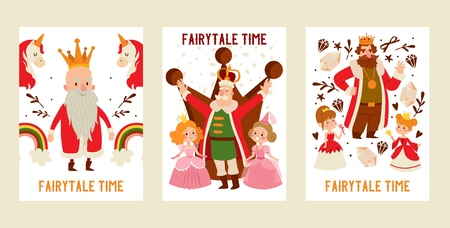 King character vector cartoon prince man in gold royal crown and medieval monarch person in royalty costume illustration backdrop set of fairytale princess girls background