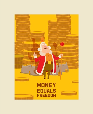 Kings money character vector cartoon royal man with gold coins illustration monetary saving backdrop medieval monarch person in royalty costume fairytale background wallpaper.