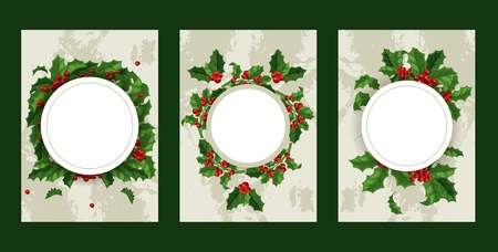 Holly berries vector Christmas traditional decoration frame on Xmas winter holiday backdrop illustration of framed decorative red berry green leaf plant on December background set.