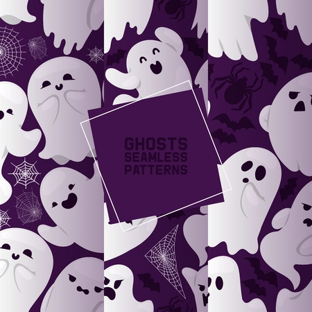 Ghost seamless pattern vector cartoon scary spooky ghosted character illustration backdrop of Halloween holiday horror nightmare ghostly fear background wallpaper.