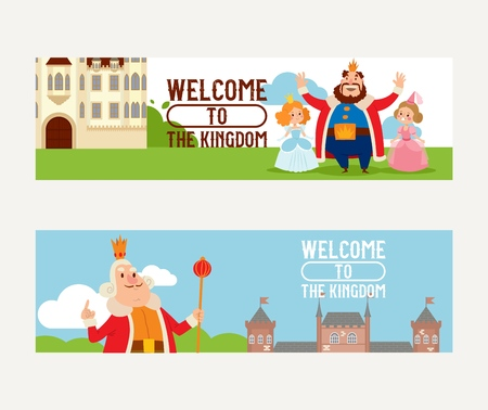 Cartoon kingdom vector king princess character in castle fairytale palace tower backdrop royalty set of medieval building landscape illustration background