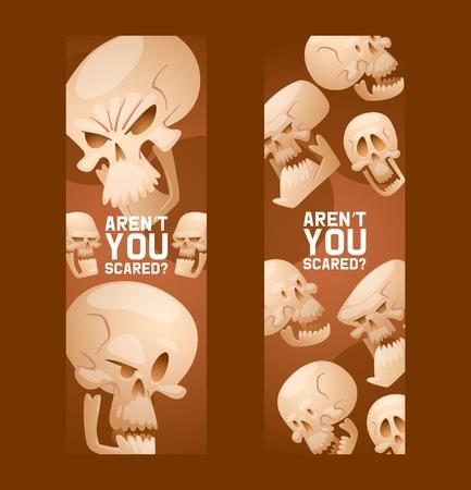 Skull pattern vector dead head crossbones human tattoo illustration thick-skulled set of horror symbol of death evil on halloween background wallpaper banner.