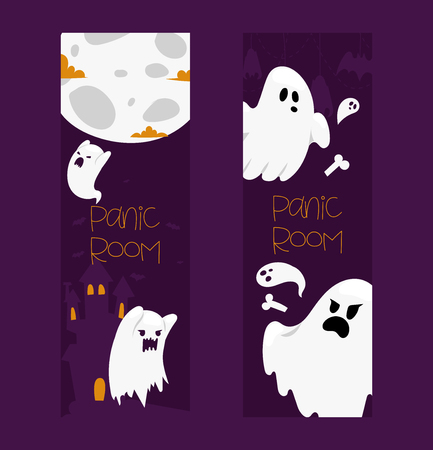 Ghost vector cartoon scary spooky ghosted character illustration backdrop of Halloween holiday horror nightmare ghostly boo fear background banner