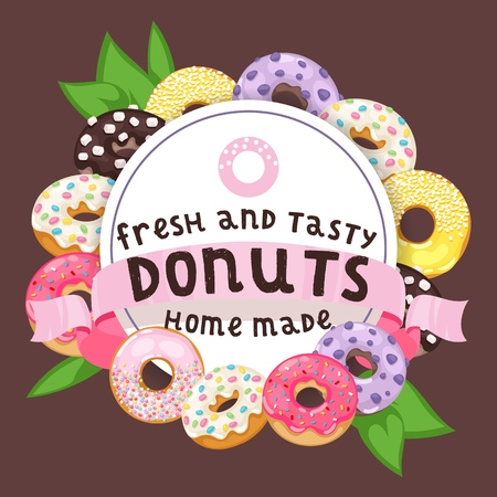 Donut vector doughnut food glazed sweet dessert with sugar chocolate in bakery illustration backdrop set of colorful backed dough with icing background banner.