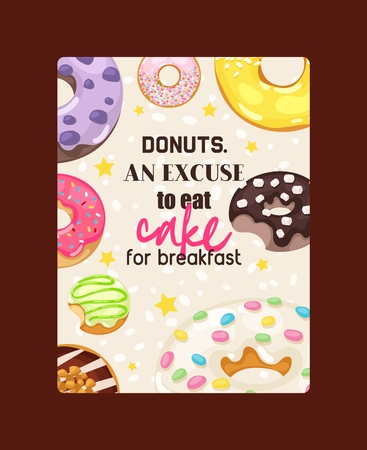 Donut vector doughnut food glazed sweet dessert with sugar chocolate in bakery illustration backdrop set of colorful backed dough with icing background wallpaper.