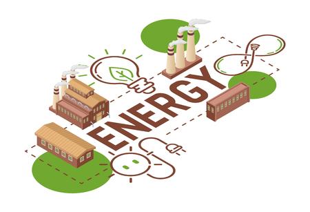 Electricidad vector tierra energía bombillas eléctricas energía de paneles solares ilustración telón de fondo fábrica industrial tecnología eléctrica terrenal papel tapiz de fondo.