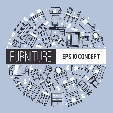 Furniture pattern vector furnishings design of living-room backdrop furnished interior in apartment sofa table arm-chair to furnish room illustration background