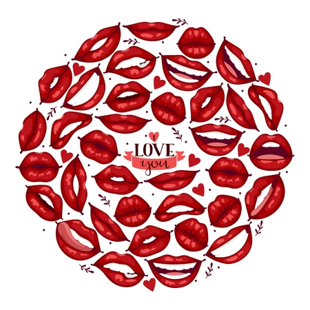 Lip vector pattern cartoon beautiful red lips in kiss or smile fashion lipstick mouth kissing lovely on valentines day illustration background love heart backdrop poster