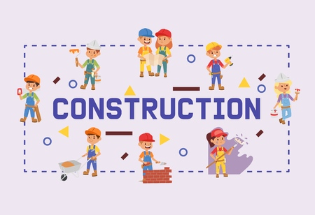 Builder vector constructor children character building construction design illustration backdrop of worker contractor kid buildup constructively background banner.