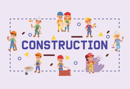 Builder vector constructor children character building construction design illustration backdrop of worker contractor kid buildup constructively background banner.