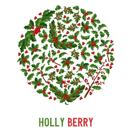 Holly berries pattern vector Christmas decoration on Xmas winter holiday backdrop illustration of traditional decorative red berry green leaf plant on December background.