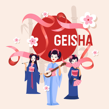 Geisha vector Japanese beautiful young woman in fashion kimono in Japan illustration backdrop set of asian oriental traditional costume background decoration wallpaper. Illustration