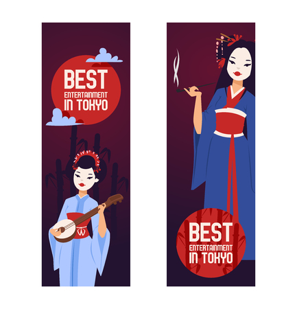 Geisha vector Japanese beautiful young woman in fashion kimono in Japan illustration backdrop set of asian oriental traditional costume background decoration banner.