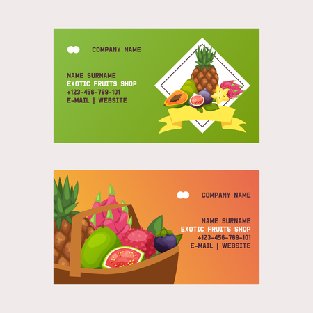 Fruits vector business card fruity apple banana and exotic papaya background fresh slices of tropical dragonfruit juicy orange illustration fruitful backdrop set business-card Vectores
