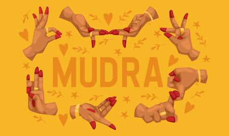 Mudra pattern indian hands vector yoga meditation fingers gesture relaxation harmony illustration backdrop of religion spiritual pray background wallpaper