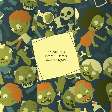 Cartoon zombie vector seamless pattern halloween scary monster character illustration backdrop of horror evil dead green creepy man grasping background wallpaper
