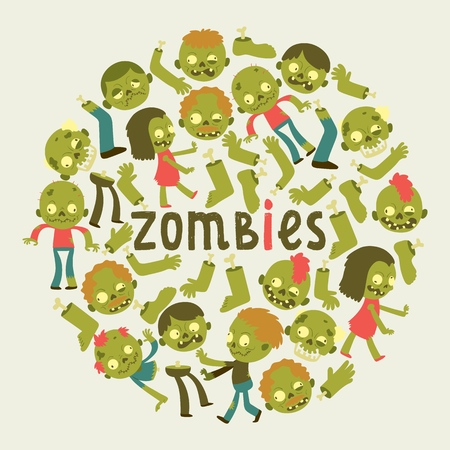 Cartoon zombie vector pattern halloween scary monster character illustration backdrop of horror evil dead green creepy man grasping background wallpaper.