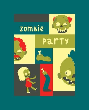 Dessin animé zombie vecteur modèle halloween effrayant monstre personnage fantasmagorique mort garçon fille illustration toile de fond d'horreur mal vert effrayant homme saisissant fond bannière ensemble.