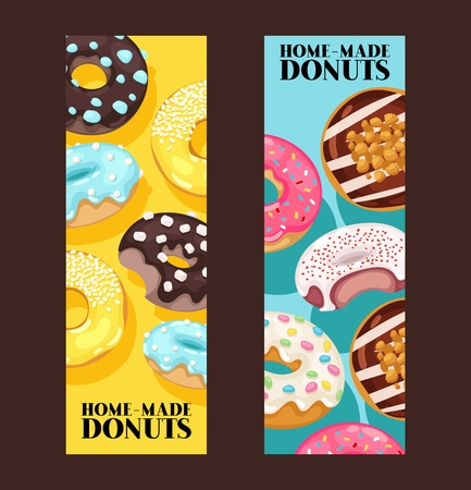 Donut vector doughnut food glazed sweet dessert with sugar chocolate in bakery illustration backdrop set of colorful backed dough with icing background banner