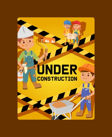 Under construction vector constructor children builder character building construction design illustration backdrop of worker contractor kid buildup constructively background banner. Çizim