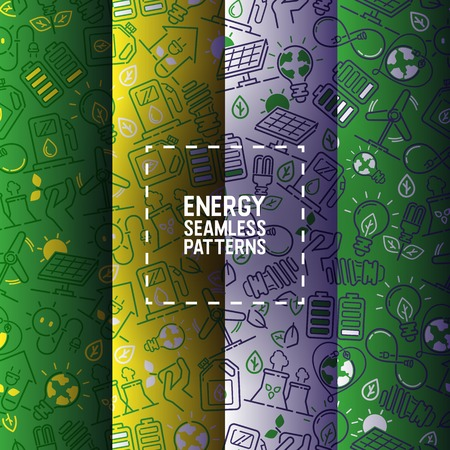 Electricity vector seamless pattern power electrical bulbs energy of solar panels illustration backdrop industrial electric technology background wallpaper. Stock Illustratie