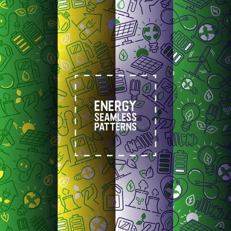 Strom Vektor nahtlose Muster macht Glühbirnen Energie von Sonnenkollektoren Illustration Hintergrund industrielle elektrische Technologie Hintergrundbild.