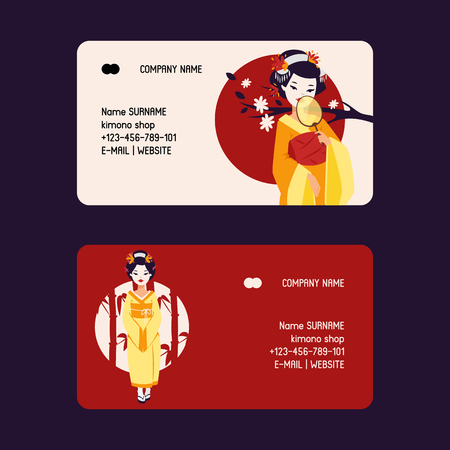 Geisha vector business-card Japanese beautiful young woman in fashion kimono in Japan illustration backdrop set of asian oriental traditional costume background decoration business card.