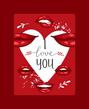 Lip vector pattern cartoon beautiful red lips in kiss or smile fashion lipstick sexy mouth kissing lovely on valentines day illustration background love heart backdrop poster