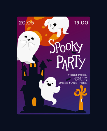 Ghost vector cartoon scary spooky ghosted character illustration backdrop of Halloween holiday horror nightmare ghostly fear in dark castle background banner wallpaper