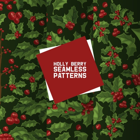 Holly berries seamless pattern vector Christmas decoration on Xmas winter holiday backdrop illustration of traditional decorative red berry green leaf plant on December background set Иллюстрация