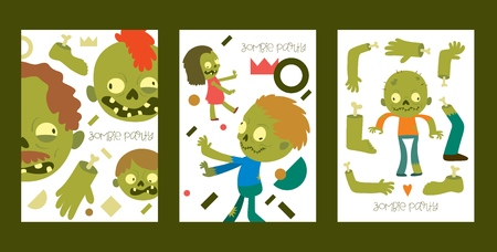 Cartoon zombie vector pattern halloween scary monster character spooky boy girl illustration backdrop of horror evil dead green creepy man grasping background banner set.
