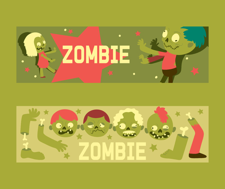 Cartoon zombie vector pattern halloween scary monster character spooky boy girl illustration backdrop of horror evil dead green creepy man head grasping background banner set.
