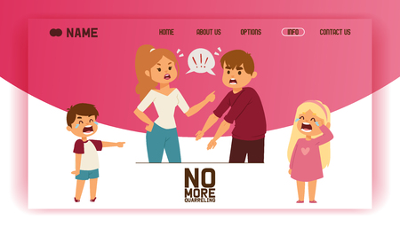 Quarrel vector landing page people man woman in family conflict crying children boy girl. Relationship problem with unhappy characters illustration quarreling with wife background web site