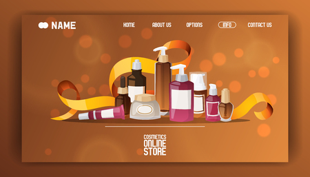 Beauty cosmetic store landing page vector flat illustration. Health and beauty shop with cosmetics. Make up concept. Different cosmetics, gifts creams for body professional, perfume banner