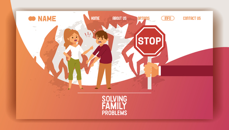 Solving family vector landing page people man woman in family conflict boy girl. Relationship problem with unhappy characters illustration quarreling with wife web site template.