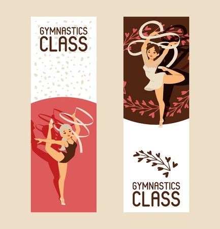 Young girl gymnast exercise sport athlete vector illustration. Training performance strength gymnastics balance people class banner. Championship workout acrobat beautiful artistic character.