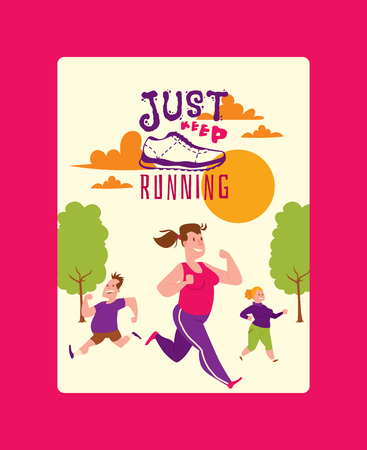 Run lettering just keep running shoes marathon people vector sneakers or trainers poster. Motivation text signs for typography illustration runners inscriptions run characters on white background