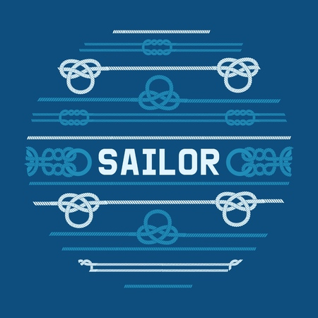 Different nautical sailor knots and ropes vector illustration. String twisted thread cable banner. Ship marine lasso flyer. Sailing equipment vintage noose cordage.