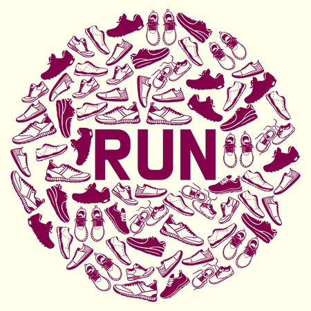 Run faster lettering poster running shoes vector sneakers or trainers with text signs for typography illustration set of runners inscriptions go run footwear silhouette flyer. Motivation concept.