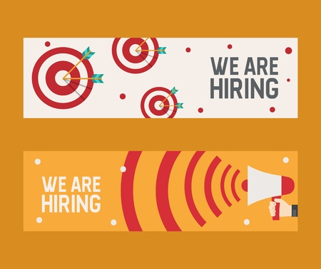 Hiring recruitment design flyer. We are hiring banner vector illustration. Open vacancy design template. Job search career recruitment occupation career concept. Candidate talent find. Vektorové ilustrace