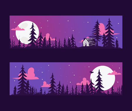 Forest pine tree banner with night scene vector evergreen natural silhouette company. Forest treetop nature wood background. Vintage hand drawing natural landscape, wild plant park. Illustration