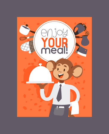 Monkey like people character vector illustration. Wild cartoon animal playing cooking and eating meal. professional master prepare food banner. Animal primate in uniform cook diet fresh food.