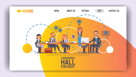 Conference hall for rent seminar room landing page vector illustration. Lecture meeting training education people, group convention business event. Professional speaker workshop coaching.