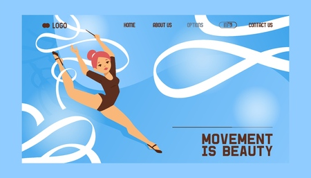 Young girl gymnast exercise sport athlete vector illustration. Training performance strength gymnastics balance people landing page. Championship workout acrobat beautiful artistic character.