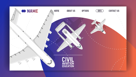 Flight civil aviation training academy landing page. Education aircraft commercial banner vector illustration. Plane flying airfield private transportation business. Sky training airport school. 向量圖像