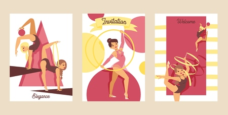 Young girl gymnast exercise sport athlete vector illustration. Training performance strength gymnastics balance people cards. Championship workout acrobat beautiful artistic character.